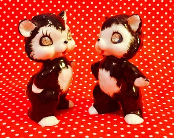 A Quality Product Anthropomorphic Bears with Rhinestone Eyes Salt and Pepper Shakers made in Japan circa 1950s
