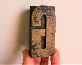 "Letterpress Wood Type G - 3"" Tall 7.5 cm/ Antique Letterpress Wood Printer's Block HAND CARVED"