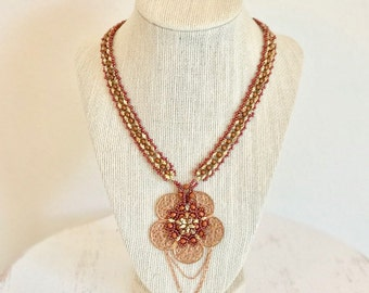beadwoven necklace - beadweaving necklace - copper seed bead necklace - flower metal filigree pendant necklace - copper necklace