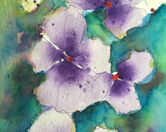 Original watercolor watercolor painting picture art pansy Pansy Flowers Watercolor
