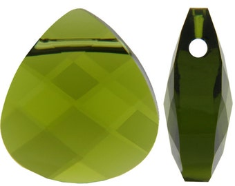 Small Swarovski 6012 Flat briolette in olivine -11mm - Swarovski pendant - green crystal