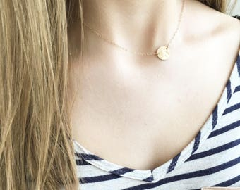 Personalized Initial Necklace, Initial Necklace, Rose Gold, Silver or Gold Necklace, Custom Letter Necklace, Initial • Name Disk Necklace