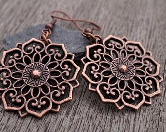 Red Copper Filigree Flower Mandala Dangle Earrings, Boho, Etnic, Oriental, Festival