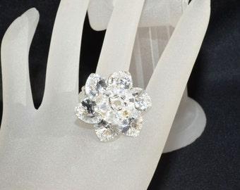 Swarovski crystal ring crystal flower Foiled