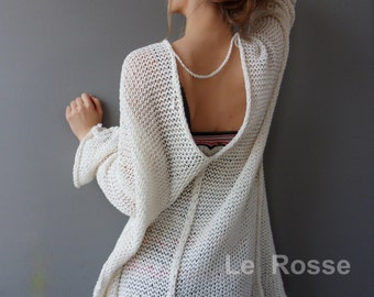 Oversized , loose knitted cardi. Summer women  cardigan, Cotton knit cardi.