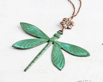 Green Patina Dragonfly Necklace, Large Dragonfly Pendant with Antiqued Copper Flower, Summer Jewelry, Animal Lover Gift