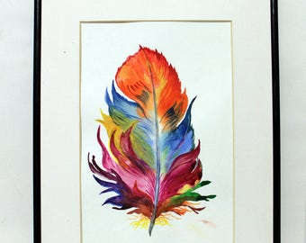 Feather Art Canvas Print   Feather Watercolor Painting Colorful home decor wall art Feathers Art