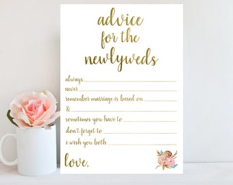 Advice for the Newlyweds, Bridal Shower Advice Cards, Printable Wedding Advice Cards, Gold Printable,Marriage Advice Cards,Floral Sign BRSG1