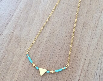 Minimalist Triangle gold with gold end and Bead Necklace