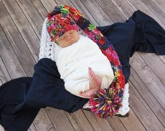 Butterfly Rainbow Baby Elf Hat, Newborn Photo Prop