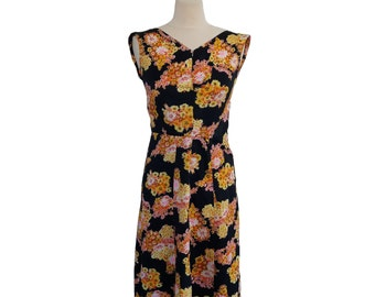 Vintage 70's Floral Dress,  Hige Waist Sleeveless Dress