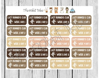 Get Organised! Lazy Runner's Club set, running, exercise - planner stickers