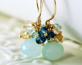 Beach Wedding Earrings Aqua Chalcedony Gemstone London Blue Topaz Cluster Bridal Jewelry Gold - Beach Walk - Complimentary Shipping