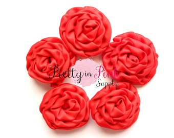 Red MINI Isabella Collection Ruffled Rosettes- You Choose Quantity- Rolled Rosettes- Rolled Rosettes- Rosettes- Flower- Supply DIY