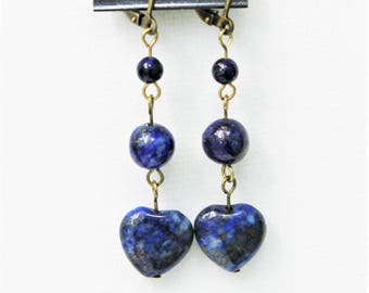 Lapis Heart shaped earrings on Antiqued, gold plated lever back hangers