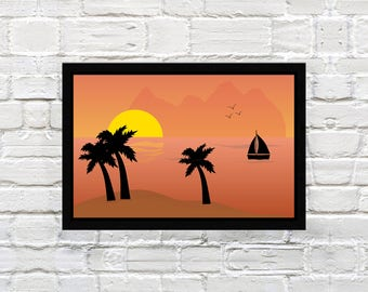 Instant Download, Sunset Illustration, Art, Decoration
