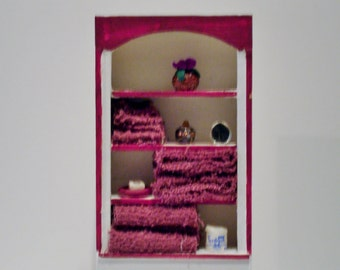 Mini Bathroom Cabinet with Burgundy accessories