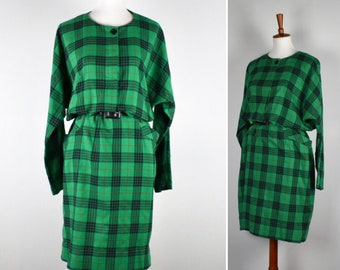 Vintage 80s Green, Black and Red Plaid Batwing Sleeve Dress