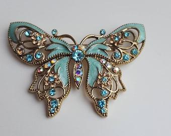 Vintage Avon Blue Enameled Rhinestone Butterfly Brooch - Vintage Enamel Rhinestone Butterfly Brooch Pin