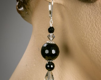 Black Onyx earrings with Swarovski crystals, Sterling Silver and Czech beads