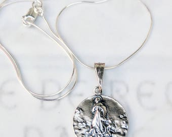 Necklace - Mary Magdalene Carried by Angels 19mm - Sterling Silver + 18 inch Italian Sterling Silver Chain