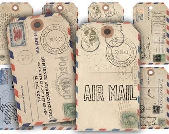 Digital Images - Digital Collage Sheet Download - Air Mail Postcard Gift Tags -  205  - Digital Paper - Instant Download Printables