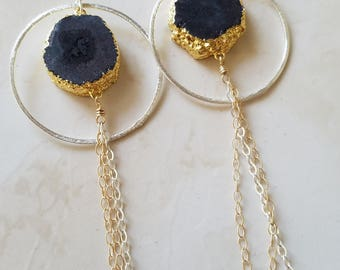 Druzy Earrings - Black Agate - Agate Jewelry - Tassel Earrings - Statement Earrings - Handmade Earrings - Mixed Metals - Druzy Jewelry