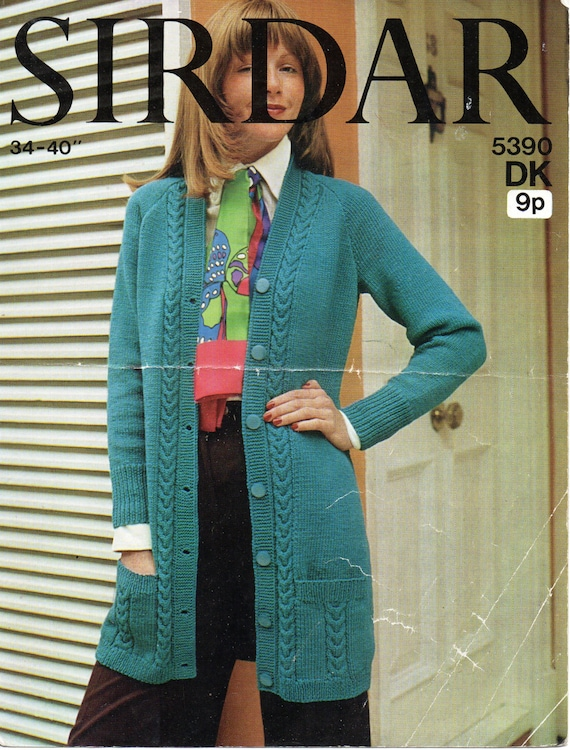 Womens Knitting Pattern Ladies Long Cardigan Womens Long Cardigan