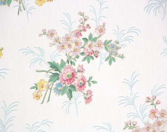 1950s Vintage Wallpaper by the Yard - Floral Wallpaper Pink and Yellow Flowers on Ivory