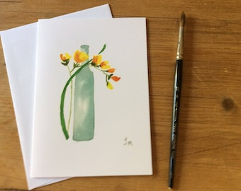 Bottle with Yellow Flower Watercolor