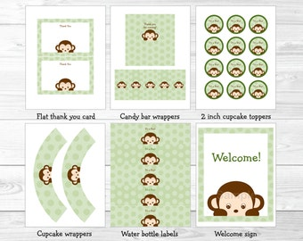 Monkey Baby Shower Party Package / Monkey Baby Shower Decorations / Boy Baby Shower / Printable INSTANT DOWNLOAD A403