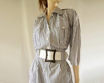 Vintage 1980s Nautical Striped Shirt Dress, Leather 70s Belt  Sz XS, S