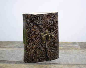 Leather Journal ornate one of a kind with handmade paper watercolor journal
