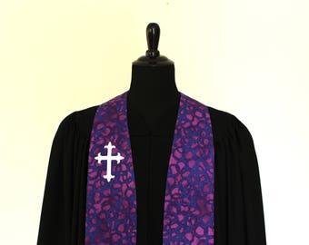 "Clergy Stole, Dusk #206, Pastor Stole, Minister Stole, White Cross, 54"" Length, Pastor Gift, Vestments"