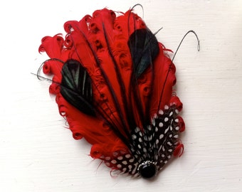 MAUREEN Red, Black, and Polka Dot Peacock Feather Fascinator, Cocktail Fascinator, with Pearl and Rhinestone