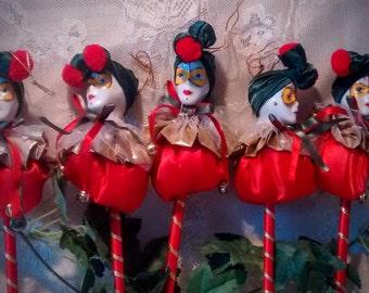 5 Vintage Jester Christmas Ornaments on a Stick