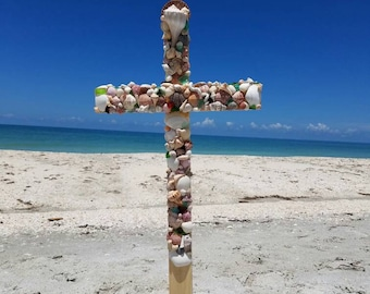 Hand made Wood and Shell Remembrance Celebration Cross