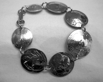 Coin Jewelry~Antique silver US coin bracelet with silver quarter