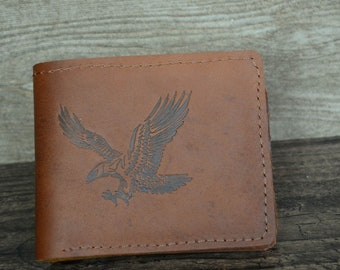 Leather Wallet Men Personalized Wallet Made of Cowskin,Eagle Pattern,Card Case
