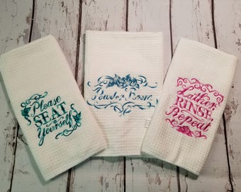Set of three Bathroom fingertip hand towel