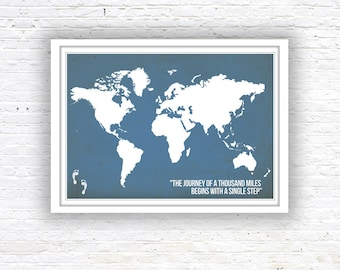 World Map Poster, World Map, Quote poster,  Wall Decor, World Map quote poster, Nursery Print, Kitchen Print