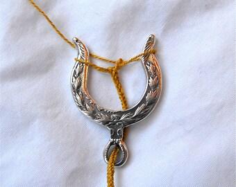 Lucet Dollar Pendant Silver Fiber Yarn Cord Tool Lucette Horseshoe Wishbone