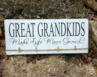 READ SHOP ANNOUNCEMENT Great Grandkids Picture Hanger, Grandparents Picture Frame, Great Grandkids Make Life More Grand Picture Holder
