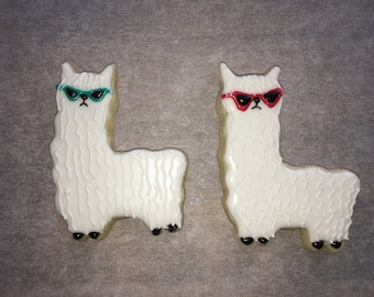 Summer Time Llama Alpaca with Sunglasses Sugar Cookies, Set of 12