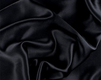 Black Silk Charmeuse, Fabric By The Yard