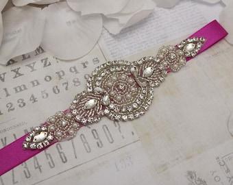 Hot pink belt, wedding belt, bridesmaid belt, flower girl belt, bridesmaid sash, wedding sash, crystal rhinestone belt, bridesmaid gift