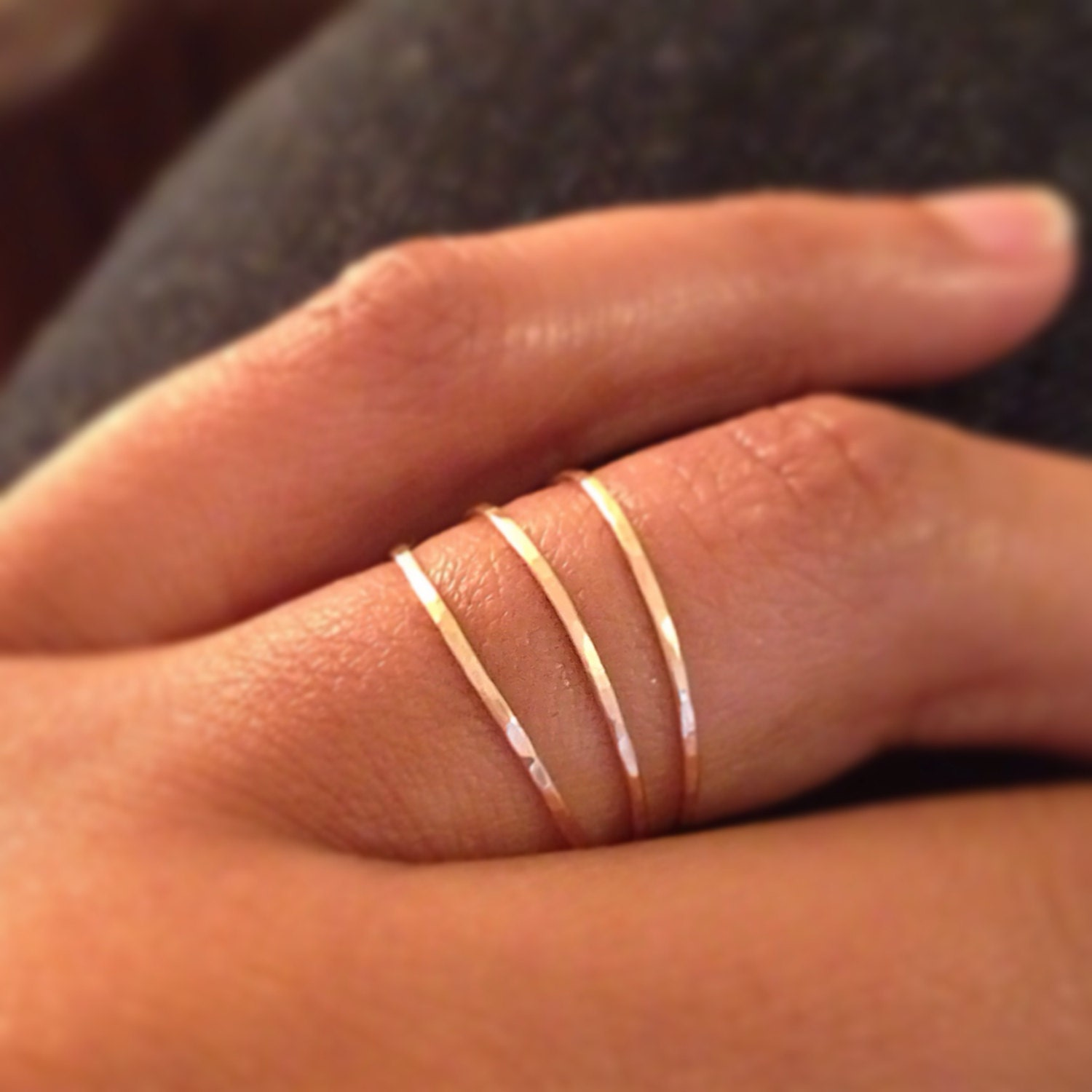 dainty it thin ring flat elegant gold this rings pin or white beaded stacking solid yellow stacked