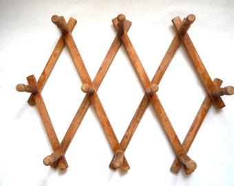 Vintage Accordion Wood Folding Hanger 10 Peg