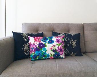 Vintage Floral Pillow, Decorative Throw Pillow, White and Purple Pillow