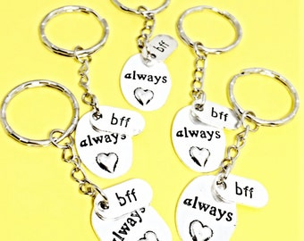Best friends keychain - set of five, bff charm, 5 bff keychain, set of 5 best friend,customized keychain,monogram,initial keychain, bff gift